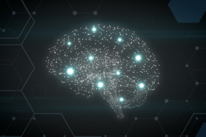 Artificial intelligence, machine learning concept with glowing brain neurons.