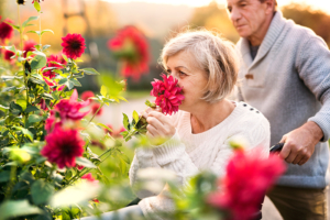 senior handicapped woman smelling flowers